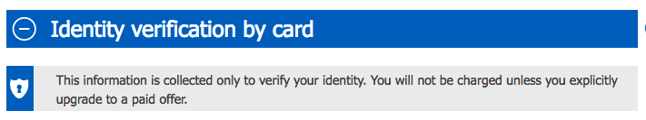 Identify verification by card